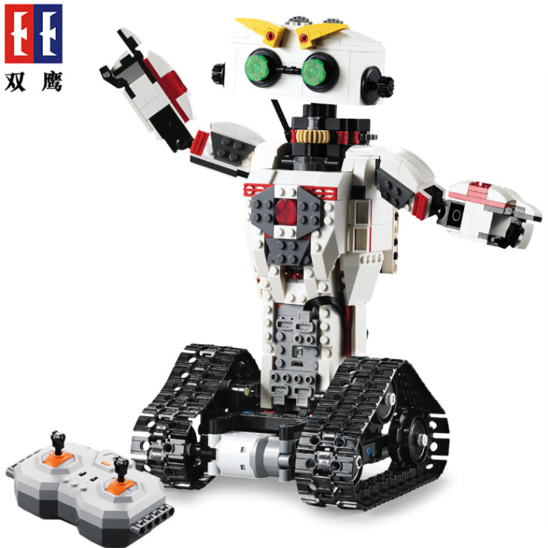 Building Blocks Technic Motor Remote control robot C51027 C51028 2 In 1 Deformation remote control robot humanoid Toys For Kids 8 in 1 military ship building blocks toys for boys