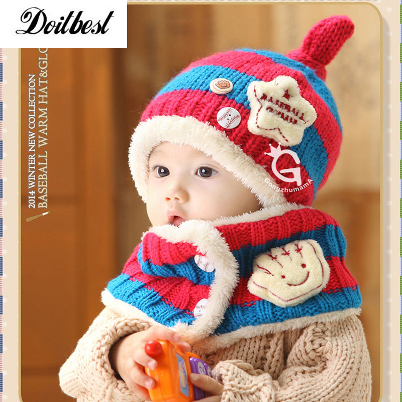 2017 Korean Striped Five-pointed Star Kids Boys Knitted Fur Hats Winter Solid 2 Pcs Baby Girl Scarf Hat Set Age For 1-4 Years