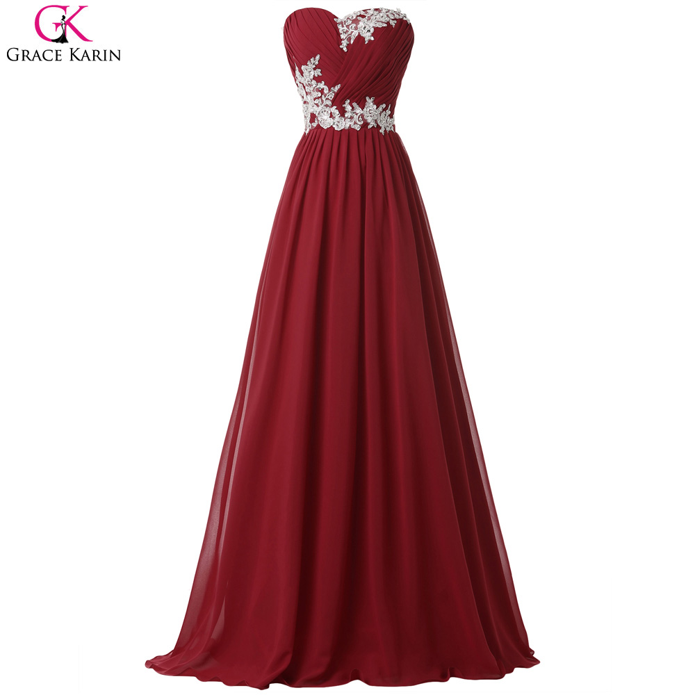 Grace Karin Long Elegant Prom Dresses Burgundy Green Blue Chiffon Strapless Wedding Party