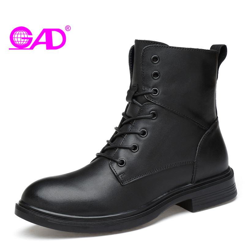 GAD Genuine Leather Women Ankle Boots Round Toe Lace-up Couple Shoes Boots Warm Fur Winter Shoes Women Waterproof Snow Boots women s boots genuine leather ankle boots round toe lace up woman casual shoes with without fur autumn winter boots 568 6