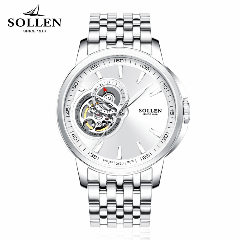 SOLLEN Mechanical Wrist Mens Watch Top Brand Luxury Automatic Clock Men Stainless Steel Skeleton men wristwatches Reloj Hombre mens watches top brand luxury mechanical watch men s waterproof military automatic wrist watch clock men hours 2017 reloj hombre