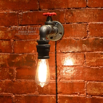 Loft Style Industrial Vintage Wall Light Fixtures For Home Antique Iron Water Pipe Lamp Edison Wall Sconce Indoor Lighting nordic loft style industrial water pipe lamp vintage wall light for home antique bedside edison wall sconce indoor lighting