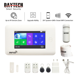 DAYTECH GSM Color Touch Screen GSM WiFi Alarm System PIR/Door/Window Sensor Android iOS APP Remote Control Compatible with Alexa