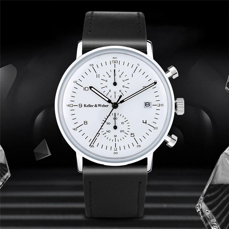 Keller & Weber Chronograph Men Watches Fashion Date Display Quartz Watch Black Genuine Leather Strap Man's Wristwatches Relogio keller