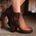 O projeto Original 2016 outono nova retro à prova d' água salto grosso genuína botas de couro botas de salto alto moda botas de tornozelo das mulheres