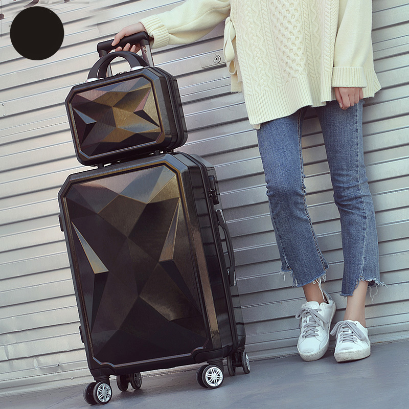 Letrend 3D Colorful Rolling Luggage Spinner Women rose Gold Suitcases Wheels Cabin Trolley Travel Bag 20/24 inch Carry On Trunk - 3
