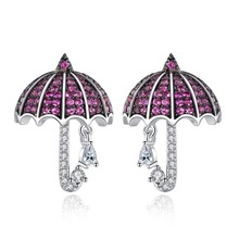 Fashion Umbrella Stud Earrings Micro Paved multicolor Zirconia Crystal Charm Party Jewelry Accessories for Girl Gift