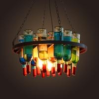 Винтаж Ретро Лофт бутылку Утюг подвесной светильник американский ресторан творческий бар Cafe висит свет Декор подвесной светильник