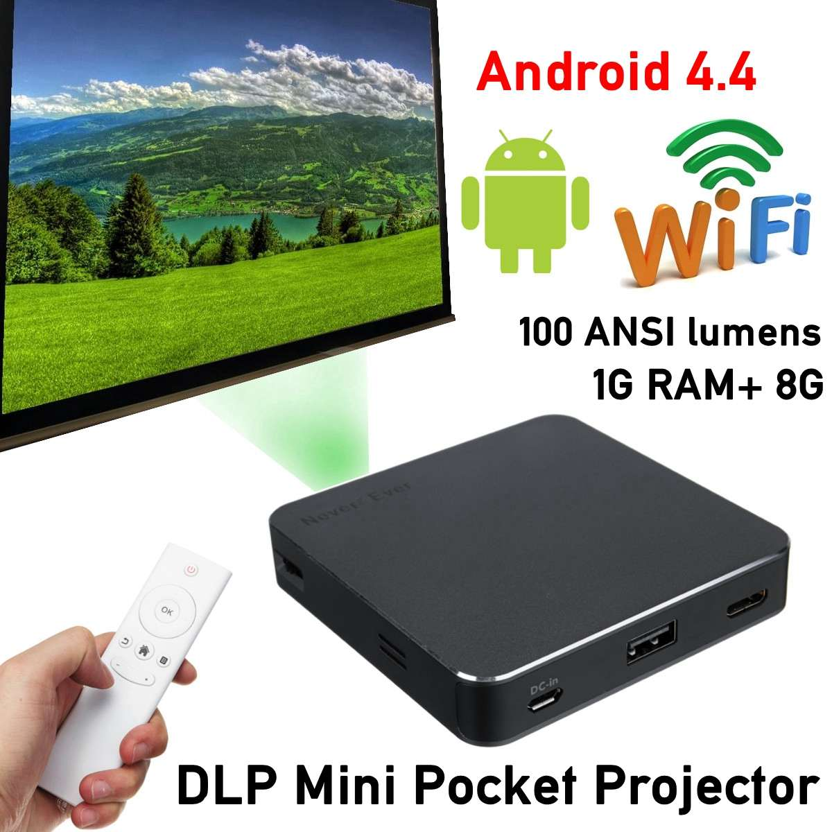 4K/8GB HD bluetooth Home Projector Home Theatre System Office Wifi DLP Mini P ocket Projector Android 7.1/4.0