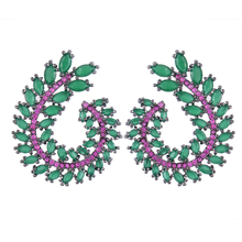 SISCATHY 2019 New Charms Big Women Stud Earrings Full Cubic Zirconia Fashion Statement Jewelry pendientes mujer moda