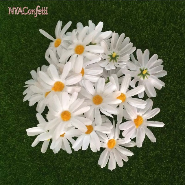 40pcs 4 5cm head artificial mini daisies flowers heads fake silk
