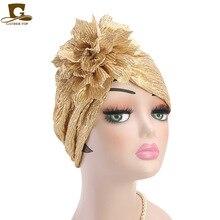 Nova flor metálica turbante bandana para mulheres muçulmana índia chapéu chapéu de quimio chapéu beanie headwrap turbante agradável presente
