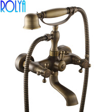 цена на Luxurious Antique Brass Bath & Shower Mixer Tap Traditional Wall Mounted Bathtub Faucet