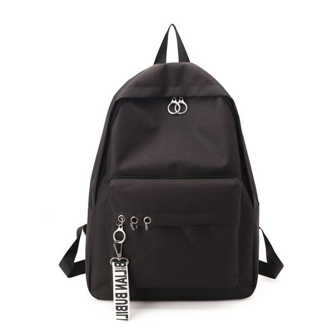 69d15910b72 Black Canvas Backpack Solid School Bags For Teenage Girls Boys Schoolbag  College Couple Backpack Casual Travel
