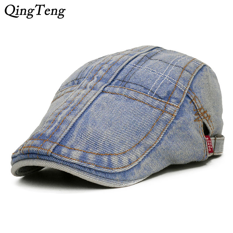 Autumn Women Men Denim Flat Caps Cotton Denim Ivy Jeans Driving Newsboy  Boina Driver Hat Golf Hats 332c62e7a80