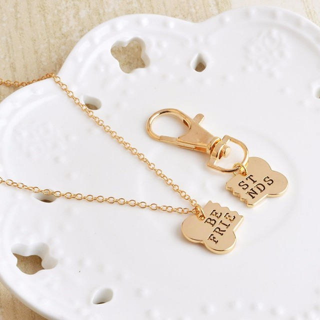 QIHE JEWELRY 2pcs/set Gold Silver Color Dog Bone Best Friends Charm Necklace & Keychain Handstamped BFF Bones Friendship Jewelry 4