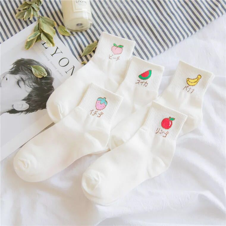 Women Size Cute Fruits Japanese Kana Socks Apple Watermelon Banana Peach Strawberry Hawthorn Gentle Home Pure Daily Dropshipping