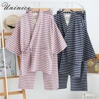 Japanese Pajamas Sets Kimono Yukata Robes Suits Striped Cotton Suits Japan Style Couples Dress Sleepwear Bathrobe Leisure Lovers