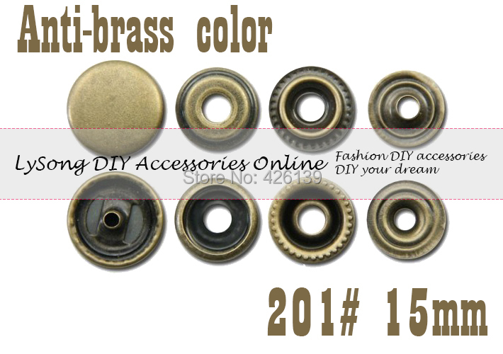 free shipping 200 sets lot 15mm antique brass color flat top part