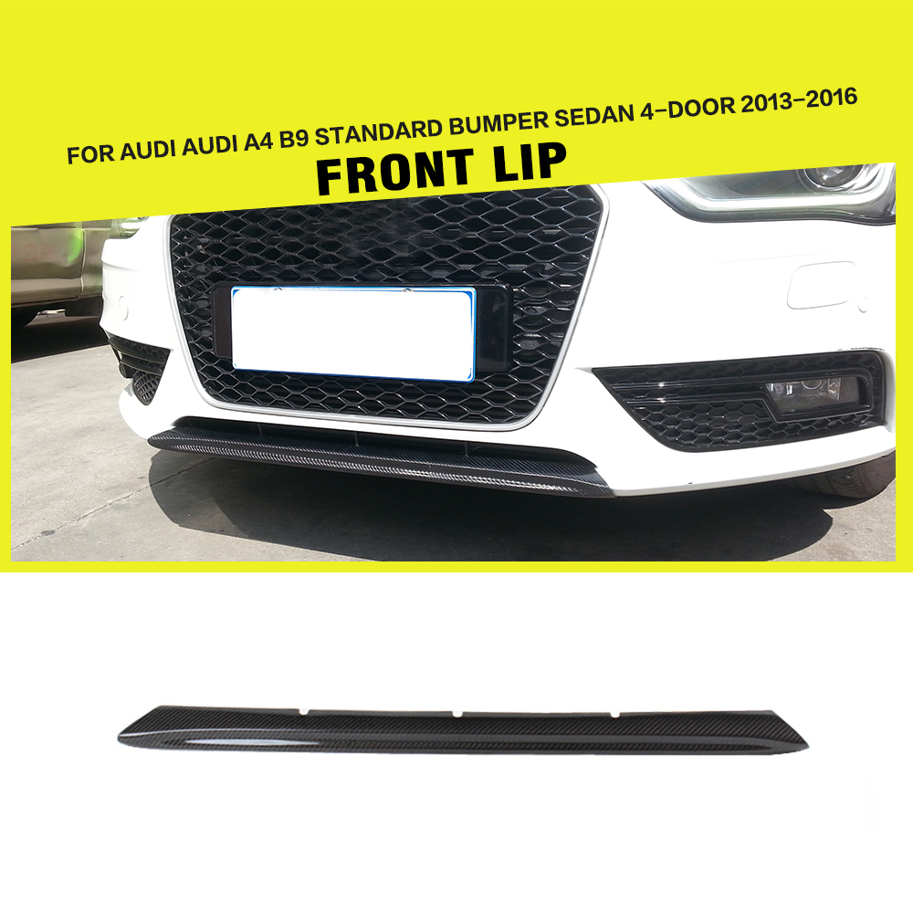 Car styling carbon fiber auto racing front lip spoiler for audi a4 b9 standard sedan 4 door 2013 2016
