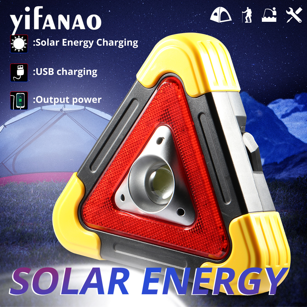 100W Work Light Lamp Portable Spotlight Solar COB Lantern Power Bank USB Rechargeable Warning Flashlight Camping Searchlight