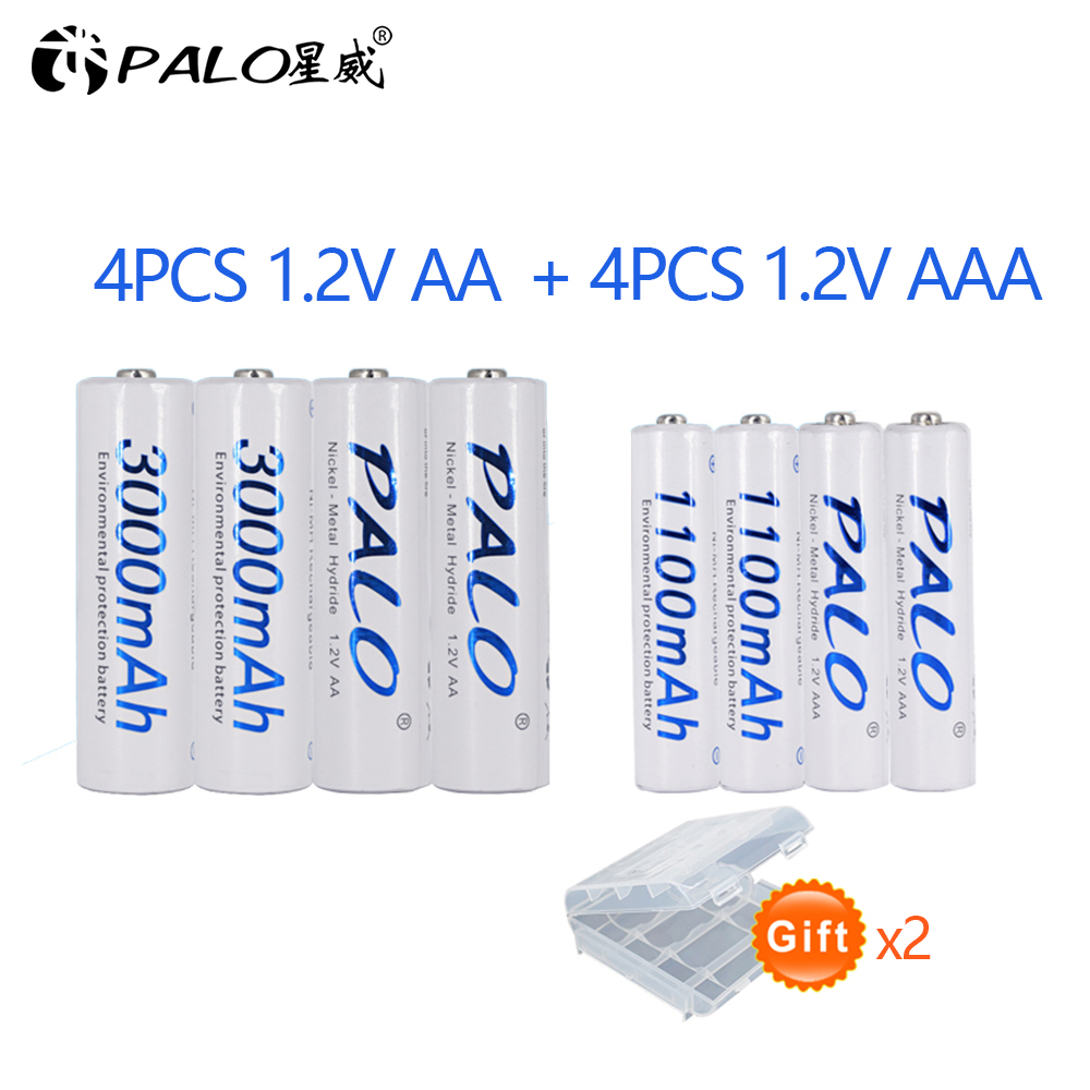 PALO 4 pièces 1.2V 3000mAh AA NI-MH Batteries + 4 pièces 1100mAh AAA piles NI-MH AA/AAA 1.2V batterie Rechargeable