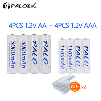 PALO 4 sztuk 1.2 V 3000 mAh AA NI-MH baterie + 4 Pcs 1100 mAh baterie AAA NI-MH AA/ AAA 1.2 V akumulator
