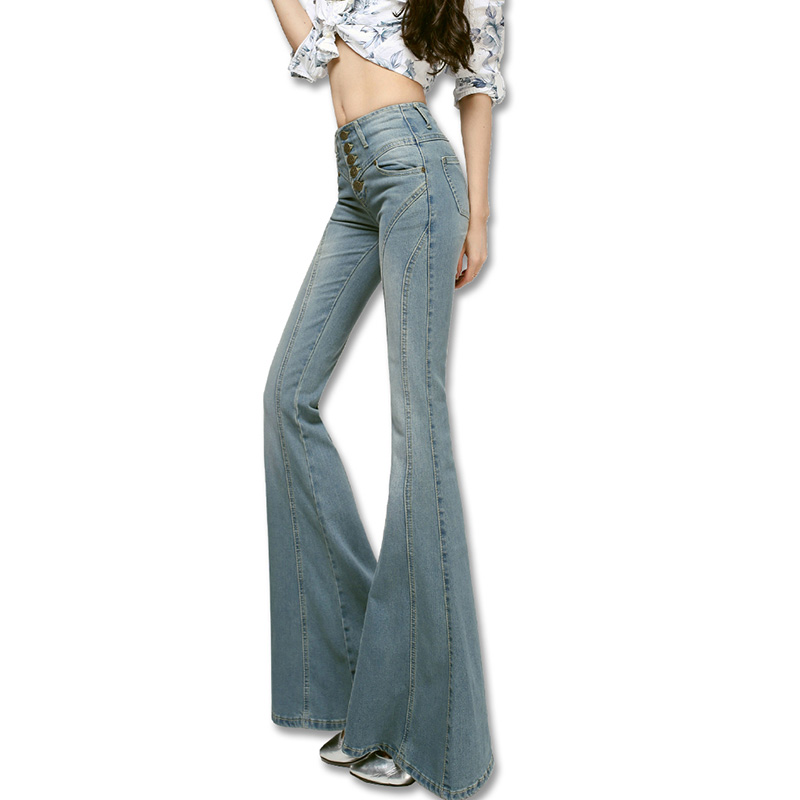 Spring font b women s b font high elastic waist slim big horn female boot cut