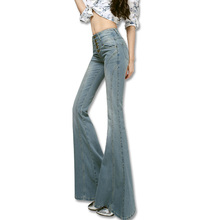 Spring women's high elastic waist slim big horn female boot cut jeans wide leg pants trousers