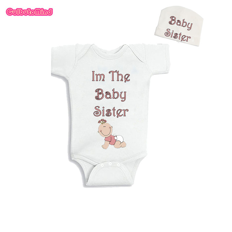 Culbutomind New born Baby Boy Girl Clothes 2018 Summer Unisex Summer Short Sleeve Baby Bodysuit I Am the Baby Sister and Cap