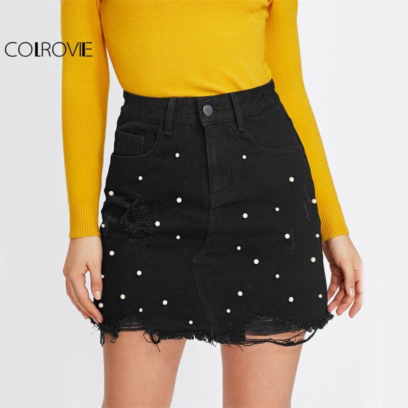 COLROVIE Pearl Detail Ripped Skirt Women Black Cut Hem Cute Denim A Line Skirts 2017 Fashion Spring Fall Girls Casual Skirt