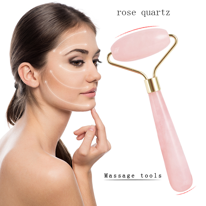 natural rose quartz gold Roller Massage tool Facial Relaxation Slimming wand Face Lift Anti Wrinkle Anti Cellulite Body Beauty portable facial massager roller flower shape elastic anti wrinkle face lift slimming face face shaper relaxation beauty tools
