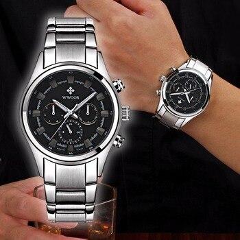 Reloj Hombre Waterproof Wristwatch Clock WWOOR 2017 Top Brand Fashion Watch Men Sport Full Steel Digital Quartz Watches