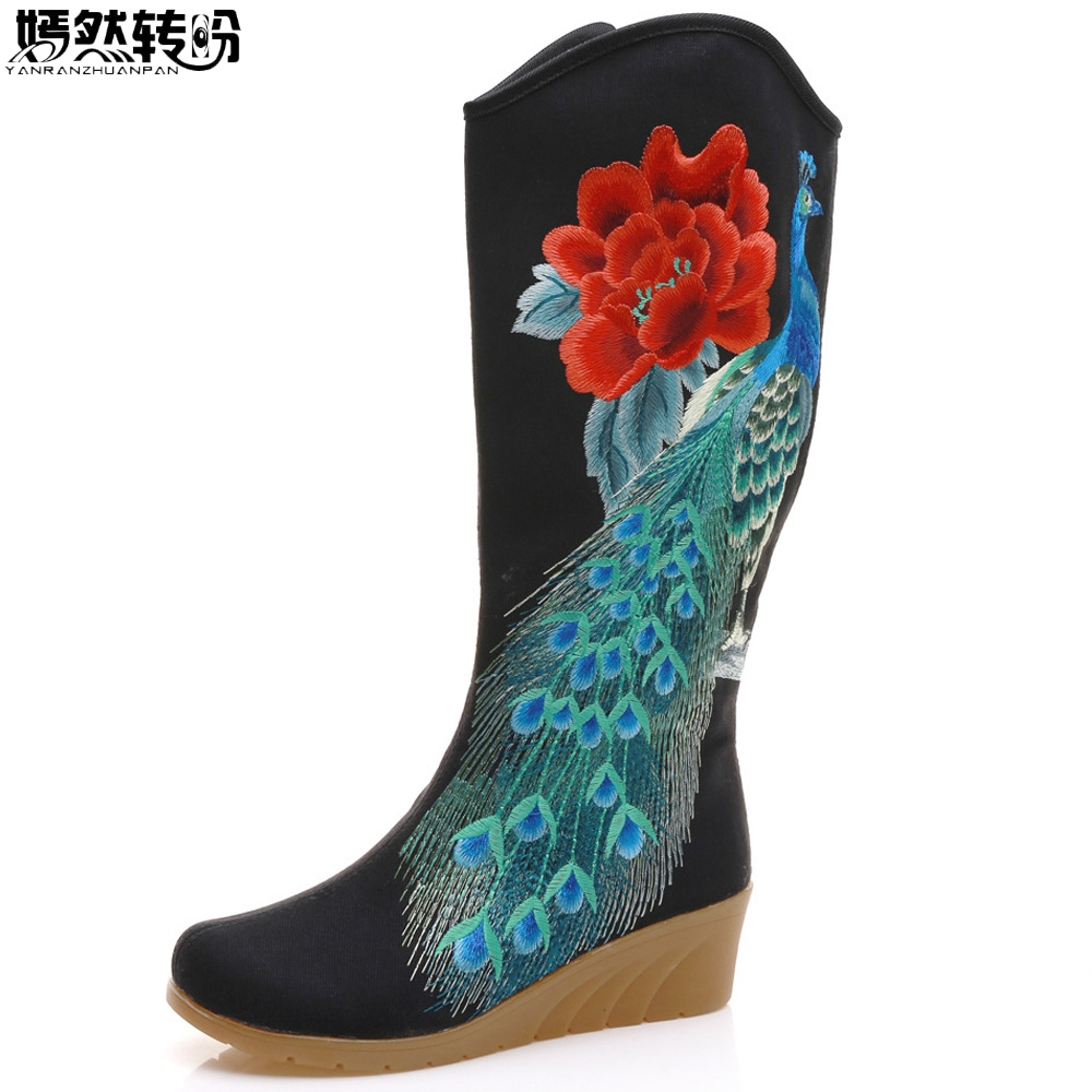 Peacock Floral Embroidered Women s Canvas Mid Boots Zip up Hidden Wedges High Heel Ladies Tall