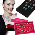 HOT Brand High Quality Full Velvet Ring Box Jewelry Box Earrings Ring Jewelry Box Tray Box