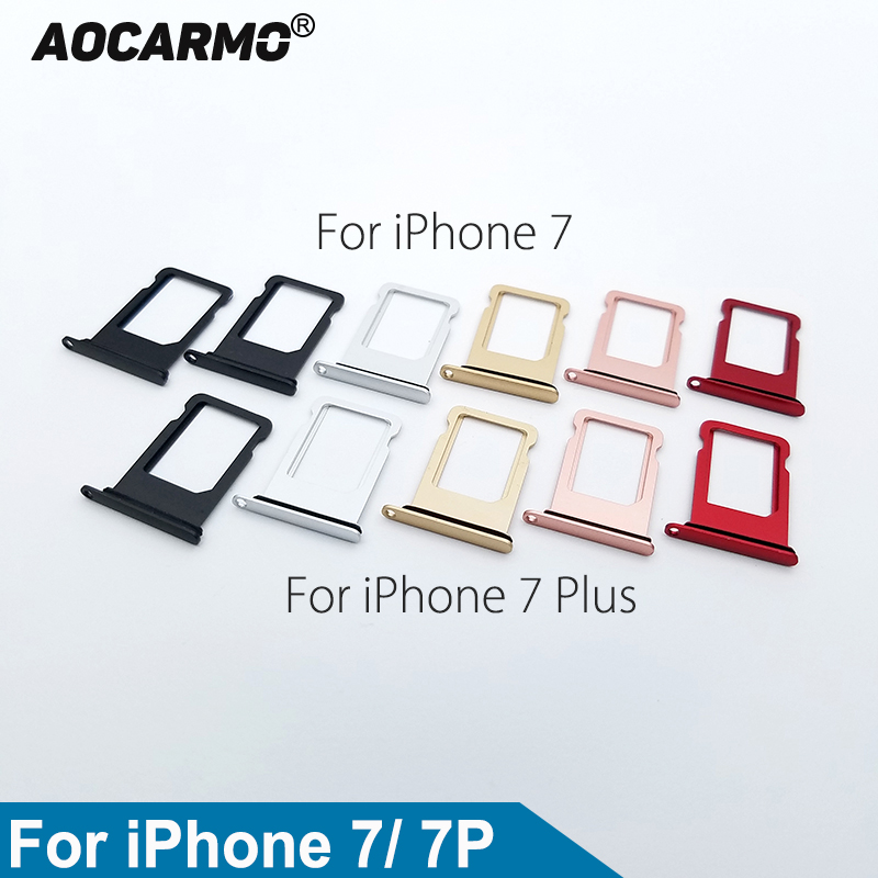 Aocarmo Aluminum Metal Nano Sim Card Tray Slot Holder With Rubber Gasket For IPhone 7 7P 7 Plus Replacement