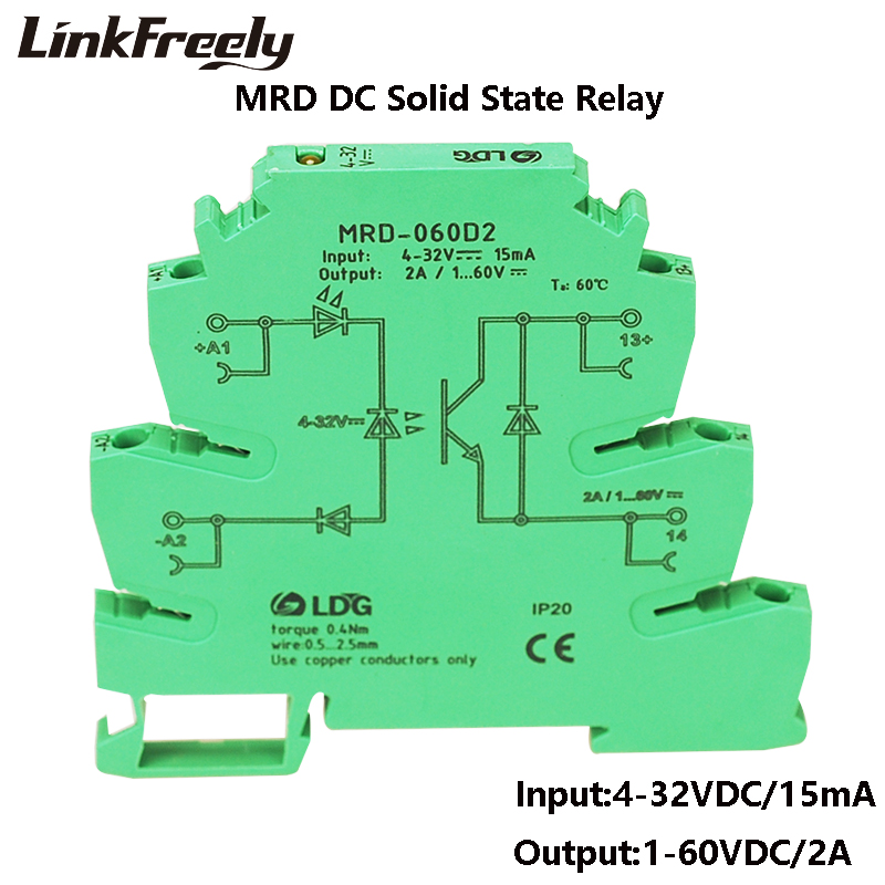 MRD 060D2 Innovative LED Indication 2A Input 5V 12V 24VDC SSR Interface Relay Module In Single