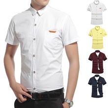 free shipping big size summer western breathable short sleeve shirts turn down collar classic cotton men dress shirt brand