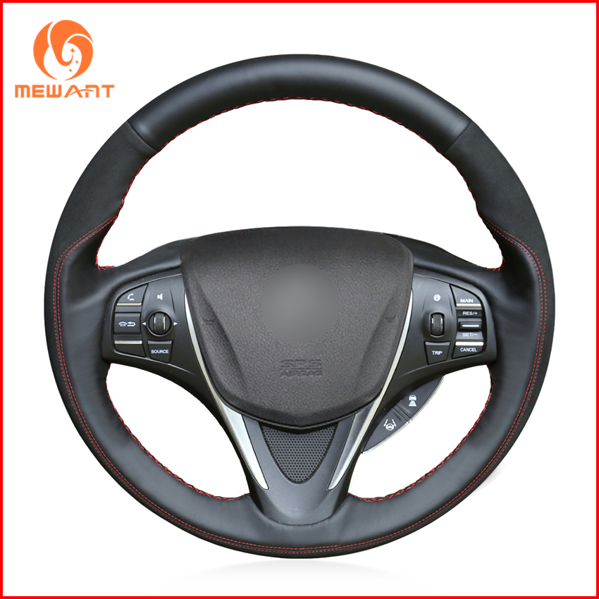 MEWANT Black Genuine Leather Black Suede Car Steering
