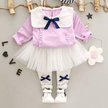 WYNNE GADIS Baby Girls Cotton Bow Long Sleeve Blouse Tops + Mesh Tutu Skinny Pant Leggings Kids Two Pieces Suits Princess Sets