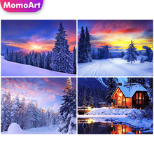 MomoArt Diamond Painting Winter Snow Embridery Full Square Rhinestone Home Decoration Diy Mosaic