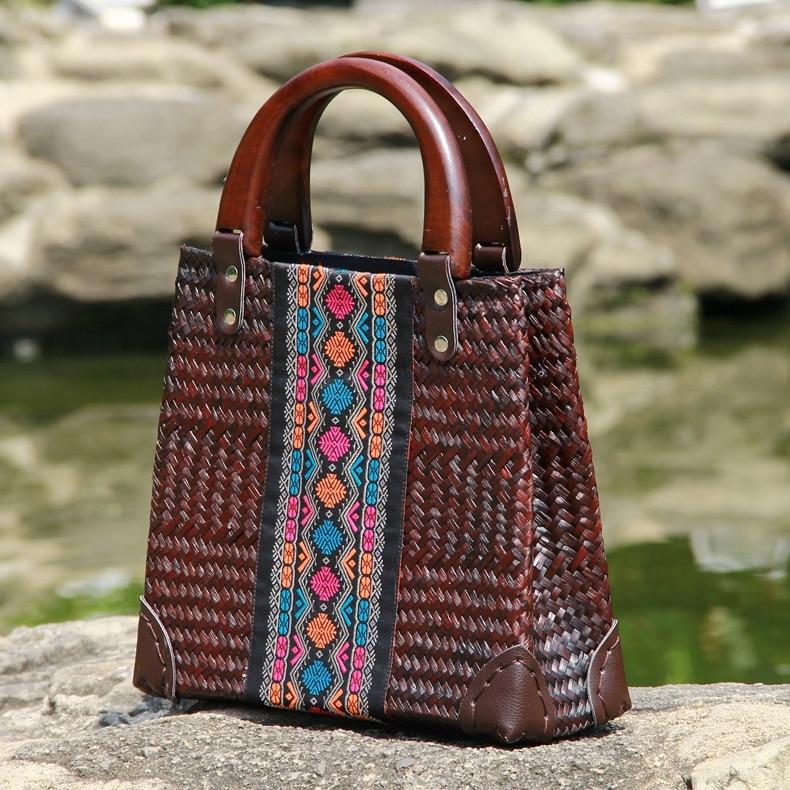 Arts and fashion women handmade straw weaving ladies bag retro environmental protection female handbag