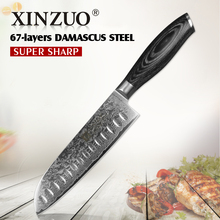 XINZUO 7″inch Japanese chef knife 67 layers Japan Damascus steel kitchen knives sharp meat santoku knife with pakka wood handle