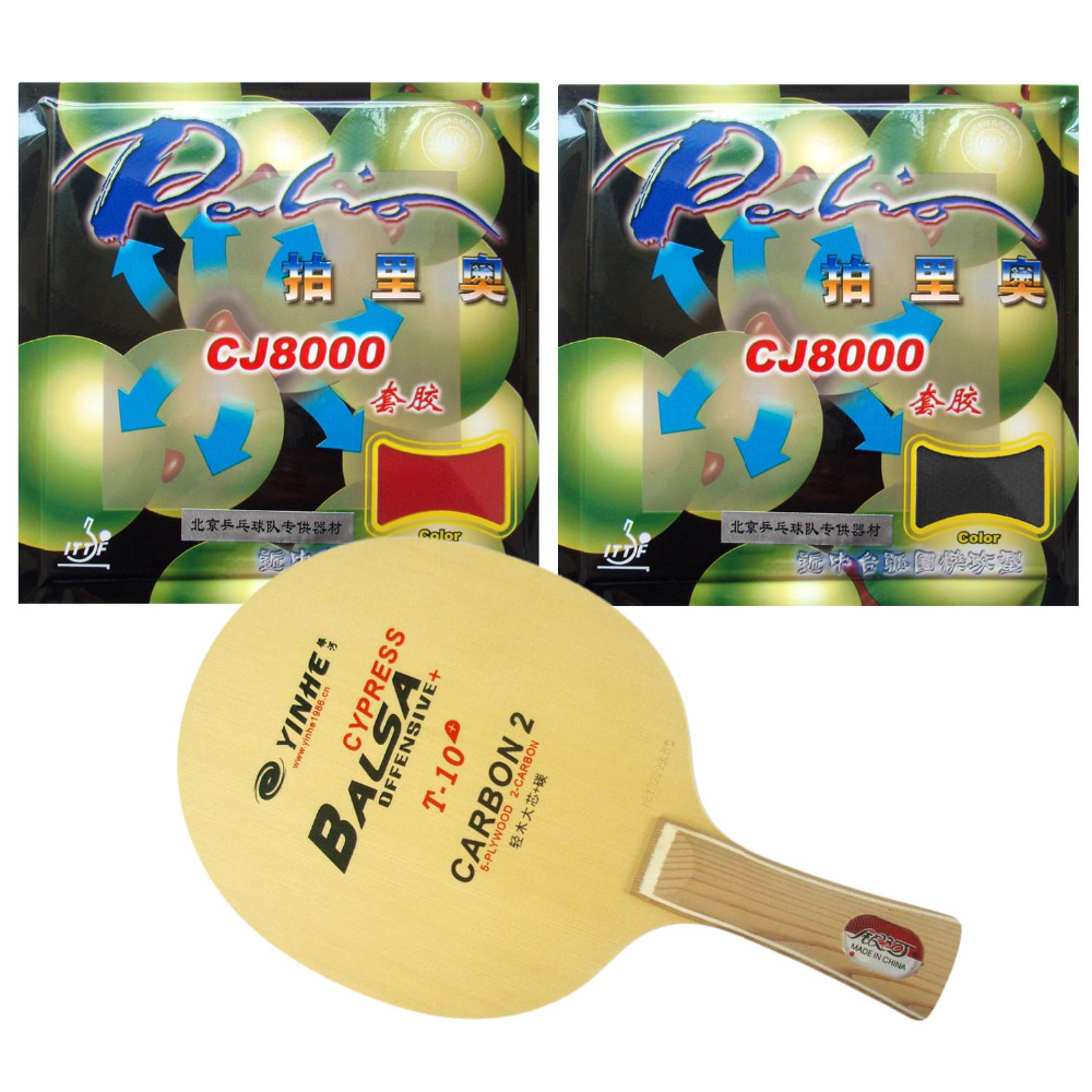 Pro Table Tennis Combo Paddle Racket: Yinhe T-10+ blade with 2 Pcs Palio CJ8000 (H40-42) rubbers Shakehand Long Handle FL galaxy yinhe emery paper racket ep 150 sandpaper table tennis paddle long shakehand st