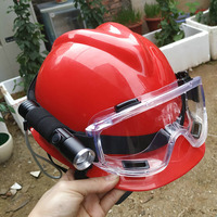 Fire Helmet Rescue Helmets With Flashlight and Safety Goggles Emergency Training Working Protection Hard Hat|Safety Helmet| |  -