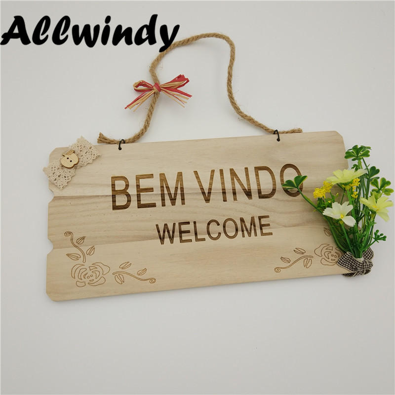 Customized Wooden Door Sign Hanger Pastoral Originality Style Welcome Addresses Plaque P ...