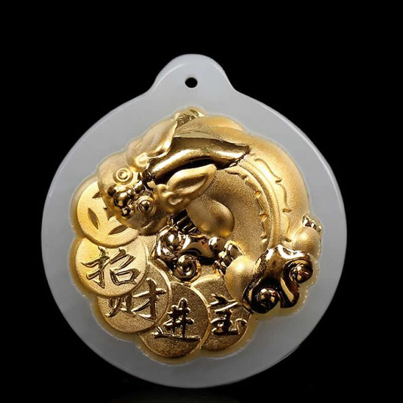 Pure 24K Yellow Gold Dragon Son Pendant Natural Jadeite Round Pendant With certificatePure 24K Yellow Gold Dragon Son Pendant Natural Jadeite Round Pendant With certificate