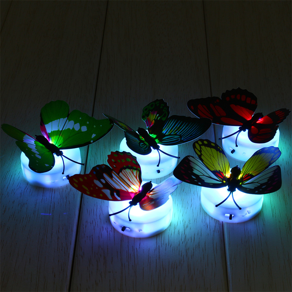 4pcs lot 7 color changing beautiful cute butterfly led for Kids room night light
