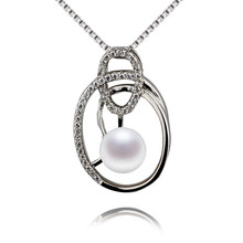 SNH excellent spherical 100% 925 sterling silver pearl necklace pendant 6mm AAA pure pearl pendant jewellery reward for girls