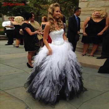 501ed8d8f Blanco y Negro Madre de la novia vestidos para bodas Sweetheart Prom noche novio  madrina vestidos